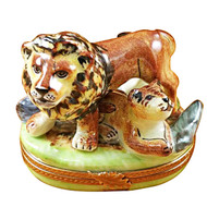 Lion W/Baby Rochard Limoges Box