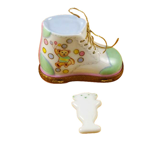 Baby Shoe W/Plaque Rochard Limoges Box