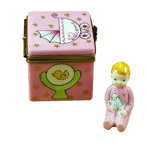 Pink Baby Cube With Baby Rochard Limoges Box