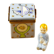 Blue Baby Cube With Baby Rochard Limoges Box