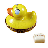 Rubber Duck W/Yellow Soap Rochard Limoges Box