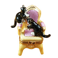Pink Armchair W/Two Cats Rochard Limoges Box