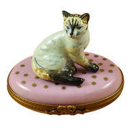 Cat On Pink Base Rochard Limoges Box