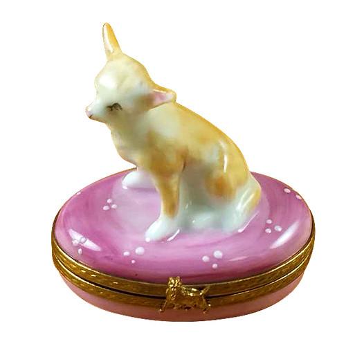 Chihuahua On Pink Base Rochard Limoges Box