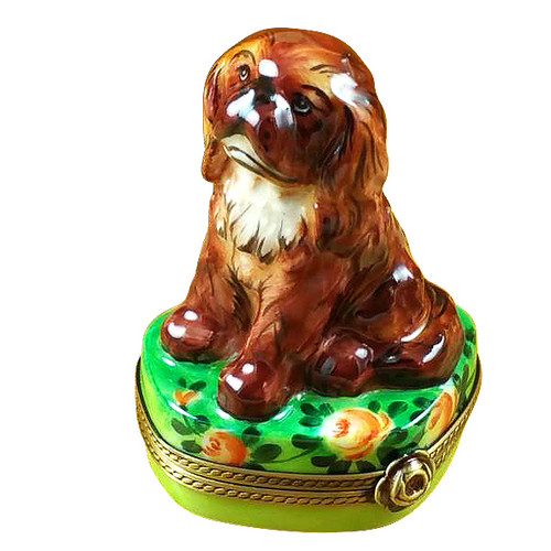 Ruby King Charles Spaniel Rochard Limoges Box
