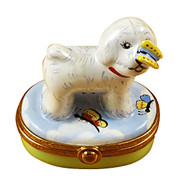 Bichon Frise W/Butterfly Limoges Box RD022-I