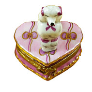 White Poodle On Pink Heart Rochard Limoges Box