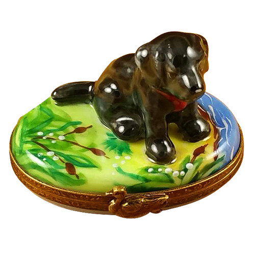 Black Labrador Rochard Limoges Box