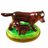 Chocolate Lab With Puppy Rochard Limoges Box
