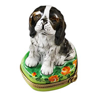 Tri Color King Charles Spaniel Rochard Limoges Box