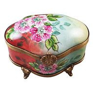 Wild Roses Footed Chest Rochard Limoges Box