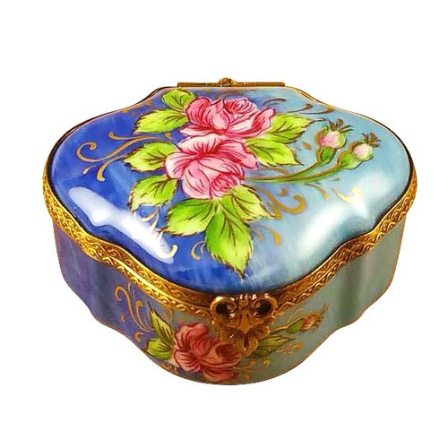 Roses On Royal Blue Chest Rochard Limoges Box