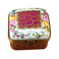 Square With Burgundy And Gold And Flowers Rochard Limoges Box