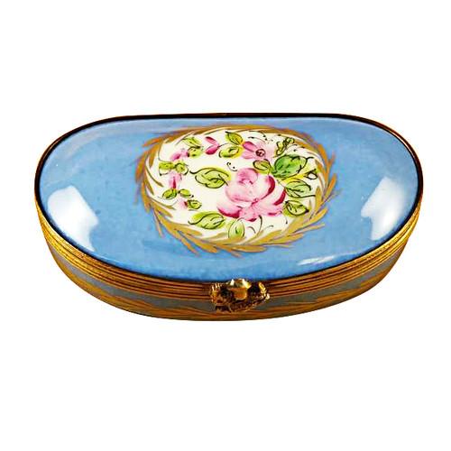 Blue Kidney Bean Shape With Flowers Rochard Limoges Box