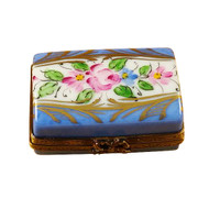 Light Blue Trunk With Flowers Rochard Limoges Box