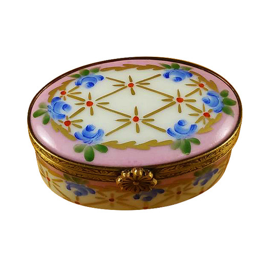 Pink Oval W/ Blue Flowers Rochard Limoges Box