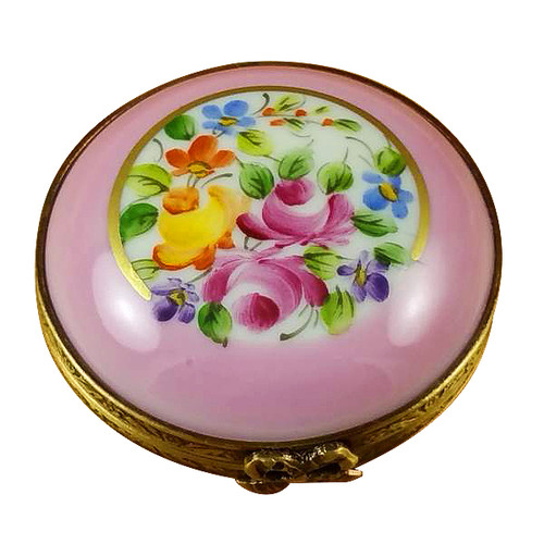 Pink Round W/ Flowers Rochard Limoges Box