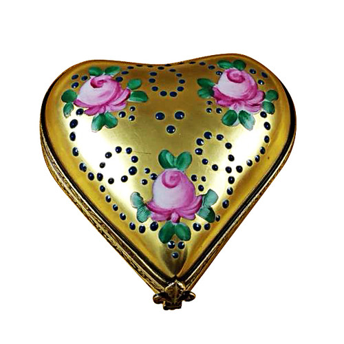 Gold Heart W/Pink Roses Rochard Limoges Box