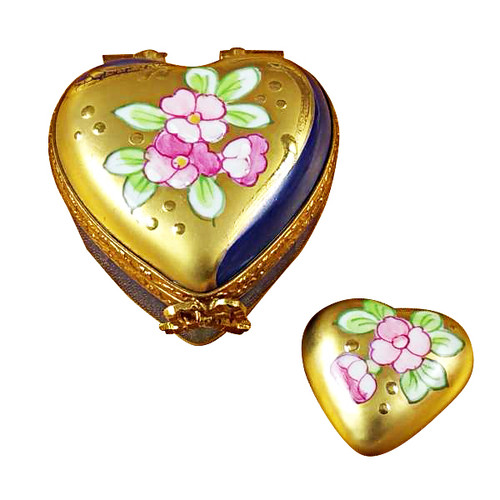 Wild Rose Heart W/Mini Heart Rochard Limoges Box