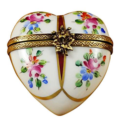 Heart W/Burgundy & Flowers Rochard Limoges Box