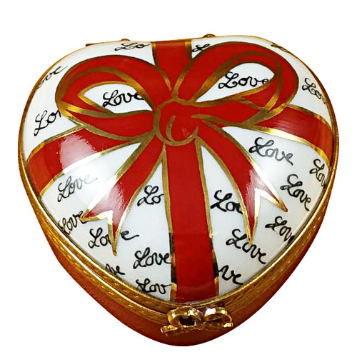 Heart With Red Bow & Three Candies Rochard Limoges Box