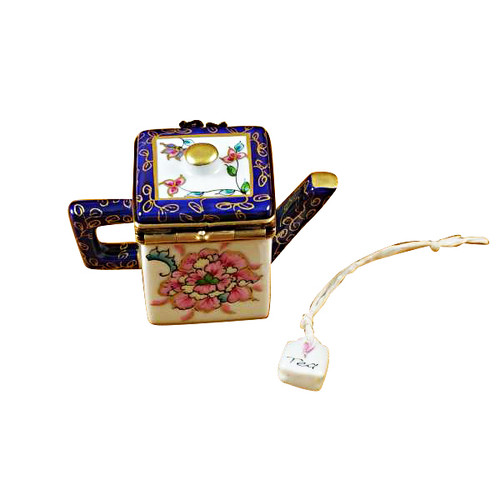 Square Teapot W/Blue Spout & Handle Rochard Limoges Box