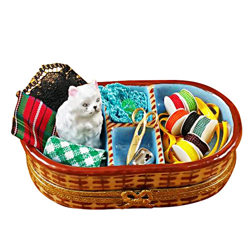 Sewing Basket With Cat Rochard Limoges Box