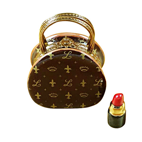 Designer Purse With Lipstick Rochard Limoges Box