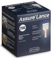 Assure Lance Low Flow, 25g, 2mm Depth, Blue,  200's