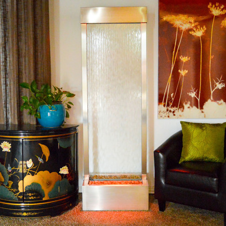 6' Gardenfall Clear Glass and Brushed Stainless Steel Frame with LED Lights