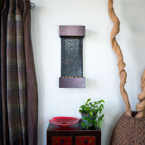 Small Nojoqui NSI Lightweight Slate Wall Fountain with Copper Vein Trim