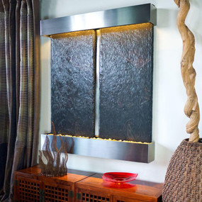 Double Nojoqui NSI Lightweight Slate Wall Fountain with Stainless Steel Trim