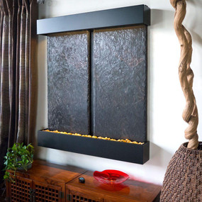 Double Nojoqui NSI Lightweight Slate Wall Fountain with Black Onyx Trim
