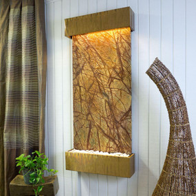 Large Nojoqui Falls Rainforest Brown Marble with Copper Patina Trim Kit