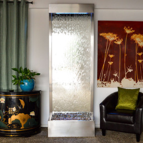 7.5' Gardenfall Silver Mirror and Brushed Stainless Steel Floor Fountain With LED Lights
