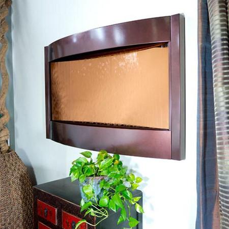 Contempo Solare Bronze Mirror and Dark Copper Horizontal Wall Fountain