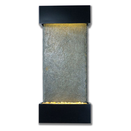 Verdigris Falls Vertical Wall Fountain With Black Onyx Finish