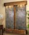 Cottonwood Falls Wall Fountain with Rustic Copper Trim and Green Featherstone with Squared Corners