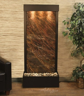Harmony River Floor Fountain - Brown Marble and Antique Bronze Trim