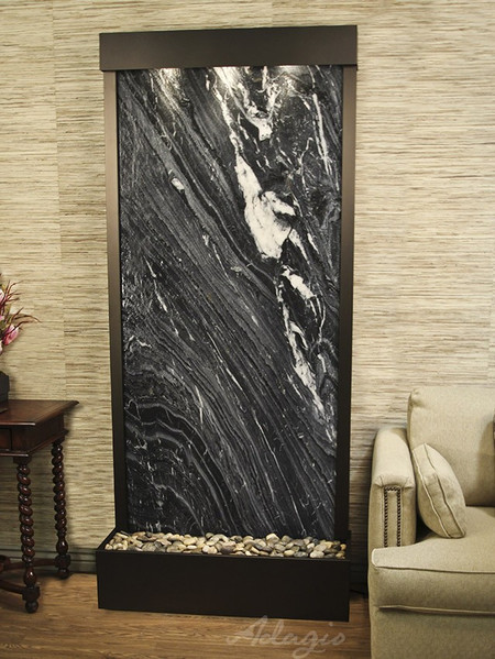 Tranquil River - Rear Mount - Black Spider Marble with Antique Bronze Trim