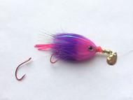 Kokanee Trolling Fly - Pink/Purple - Rigged