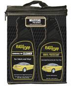 RaggTopp Vinyl Care Kit 01164 contains the following; - One Bottle of RAGGTOPP Fabric/Vinyl Cleaner; Exclusively formulated for Fabric and Vinyl. Safely Removes the Toughest Soils and Stains. Will Not Harm Metal, Plastic, Rubber or Wood Finishes. Anti-Oxidant, Low pH, No Bleach Formula Leaves No Residue. Environmentally Friendly & Biodegradable. Non-Toxic.  - One Bottle of RAGGTOPP Vinyl Protectant; Strongest Professional Strength Vinyl Protectant on the Market Today. Exclusively Formulated for Exterior/Interior Commercial Vinyl Products. Contains NO Silicone Oils or Petroleum Distillates. Patented Formula Repels Dust, Grease, Dirt and the Growth of Mildew. Contains Ultraviolet (UV) Absorber/Blockers from CIBA. Can Be Used On All Vinyl Products Without Streaking. Easy Application-Spray On, Wipe Dry. VOC Compliant.