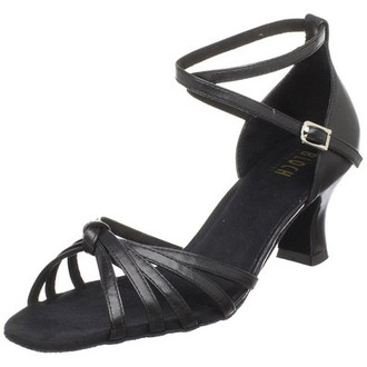"""Flexible forefoot to provide a broad range of movement and enhance pointe. Flared 2.5"""" heel with wide heel base for support, stability and comfort. Adjustable strap can be worn as ankle or instep strap, self locking buckle and cushion insole."""