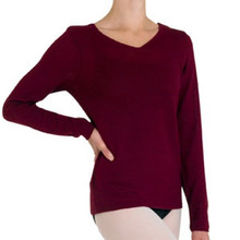 Style Z0959 by Bloch. V-neck long sleeve top. Fabric: 100% acrylic cashmere like yarn.