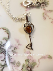 Amber Key Necklace, Sterling Silver