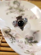 Black Onyx Poison Ring, Sterling Silver, Size 7
