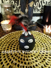 Black Elegua Head with Feathers