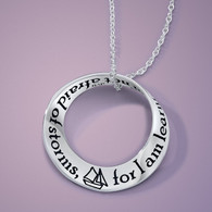 I Am Not Afriad of Storms, Louisa May Alcott, Sterling Silver Mobius Necklace