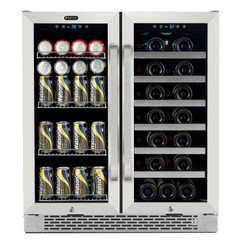 BWB-3388FDS Whynter 30″ Built-In French Door Dual Zone 33 Bottle Wine Refrigerator 88 Can Beverage Center
