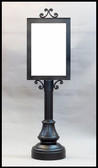 X-FR-PED-2820-VALET VALET PEDESTAL SIGN STAND DECORATIVE SLIDE IN STYLE SIGN STAND WITH  SCROLL ACCENTS, FLUTED COLUMN AND AMERICANA BASE, SIGN BLANK INCLUDED